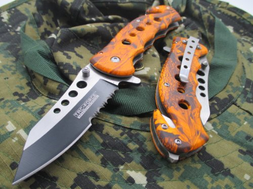 TAC-FORCE Assisted Opening Linerlock Design A/O Speed Rescue Glass Breaker Knife - Black and Orange (Knife Assisted Speed)