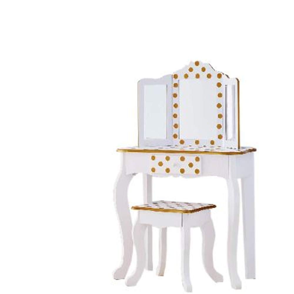 GT Kid Vanity Makeup Table Set Kids Small with Mirror and Bench Drawer Child Children Girls Classic Furniture & E Book by Easy2Find. by GT (Image #1)