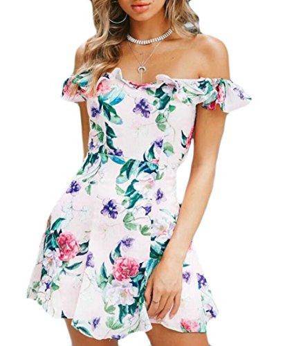 Le Bustier D'été Des Femmes Domple Bowknot Ruffle Floraux Balancer Mini-robe Rose