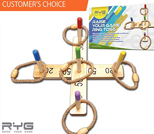 RYG Wooden Ring Toss Game Set, Durable Wood Base, 5 Wood Pegs, 5 Rope Rings, Portable Indoor and Outdoor Family Quoits Games, for Kids & Adults