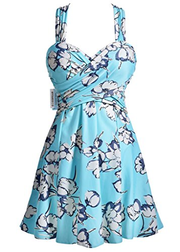 swimwear bathing swimsuit for women inexpensive swimsuits dress full colour crossover cover gift giving for women,Medium Aquamarine Floral,XXX-Large / 14-16