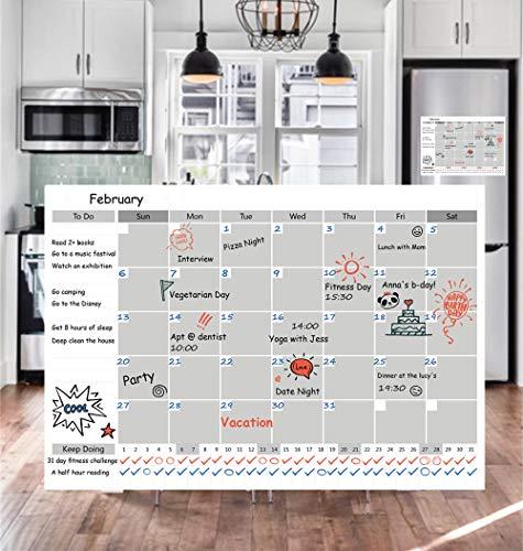 Magnetic Fridge Calendar Dry Erase, 2018 White Board Calendar Planner for Kitchen Refrigerator, 17'' x 12'' Large Monthly Erasable Whiteboard Calendar Set by F.G.Y (Image #1)