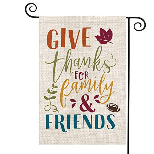 AVOIN Give Thanks for Family and Friends Garden Flag Vertical Double Sized, Fall Thanksgiving Football Burlap Yard Outdoor Decoration 12.5 x 18 Inch