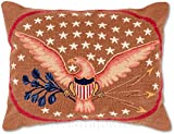 Handmade 100% Wool Decorative Needlepoint Patriotic American Eagle Colonial Williamsburg 4th of July American U.S. Flag Throw Pillow. 16'' x 20''.