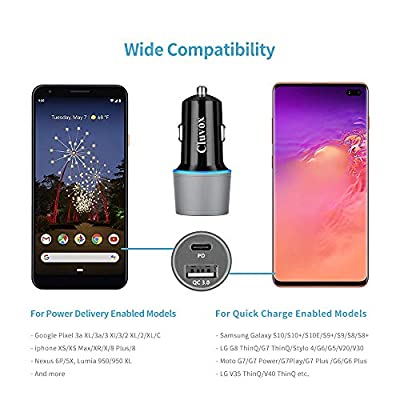 Rapid Type C Car Charger, Compatible for Google Pixel 4 XL/3a XL/3/XL/2, Galaxy S20/S10 USB C PD Car Charger with 3ft Type C Cable, 18W Power Delivery& Quick Charge 3.0 Fast Charging Car Adapter-Gray