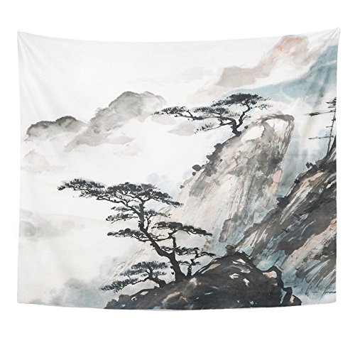 Emvency Tapestry Print 50x60 Inches Pink Japanese Chinese Landscape Painting China Ink Mountain Tree Garden Brush Wall Hangings Home Decor from Emvency