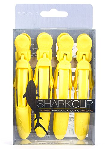 The Hair Shop Shark Clip | Enhanced Croc Crocodile Alligator Grip Clip | Sectioning Tool for Women | US Patented | Professional Salon Quality (Yellow, 4 Pack) (Tool Sectioning)