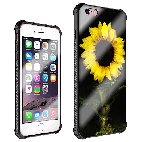 iPhone 6S Cases,iPhone 6 Cases Floral Pattern for Girls Women,[Four Corners Thicken Shockproof] Tempered Glass Pattern Painted Mirror Bumper Cover Case for iPhone 6/6s-Sun Flower