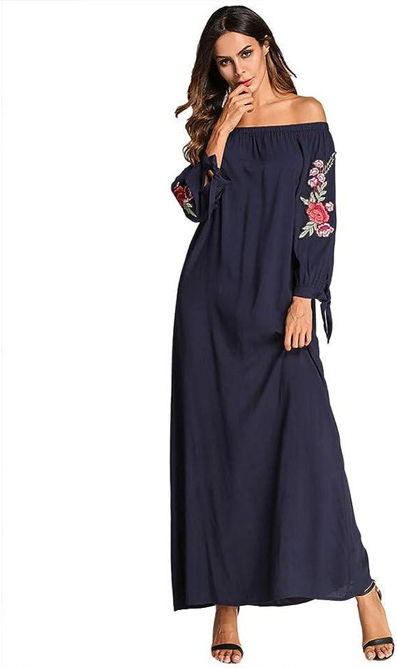 ASGHILL Vestido Falda Larga musulmán Gente Algodón Calcomanías de Viento Nacional Palabra Collar Mosaico Vestido para Mujer Vestido: Amazon.es: Deportes y aire libre