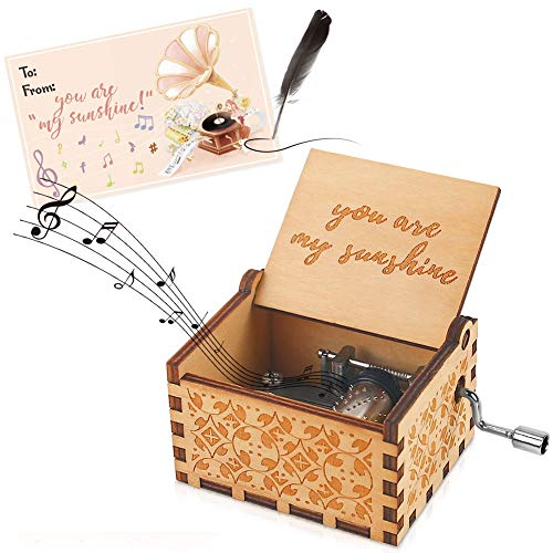 HoneyGifts Hand Crank Wooden Music Box You are My Sunshine Valentine Birthday Gift