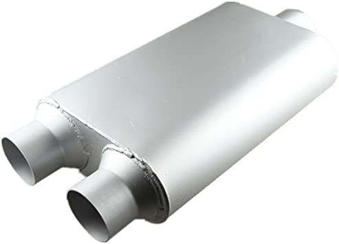 """2.5/"""" Center In//Dual 2.5/"""" Out Performance Race Exhaust Oval Muffler 14/"""" Silencer"""