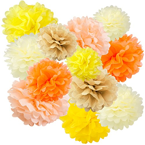 Floral Reef Variety Set of 12 (Assorted Cream Orange Yellow Color Pack) consisting of 8