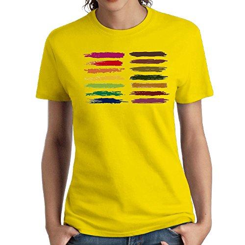 (Jac Jie Women's Cotton Short-Sleeved T-Shirt New Original Design Painted Logo Yellow XL)