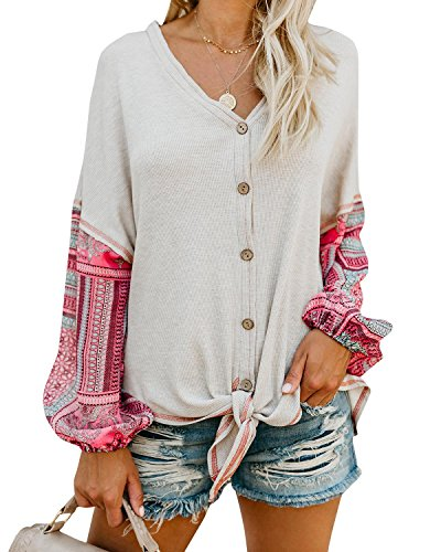 Valphsio Womens Boho Long Sleeve Henley Shirt V Neck Front Tie Button Down Patchwork Blouse Tops
