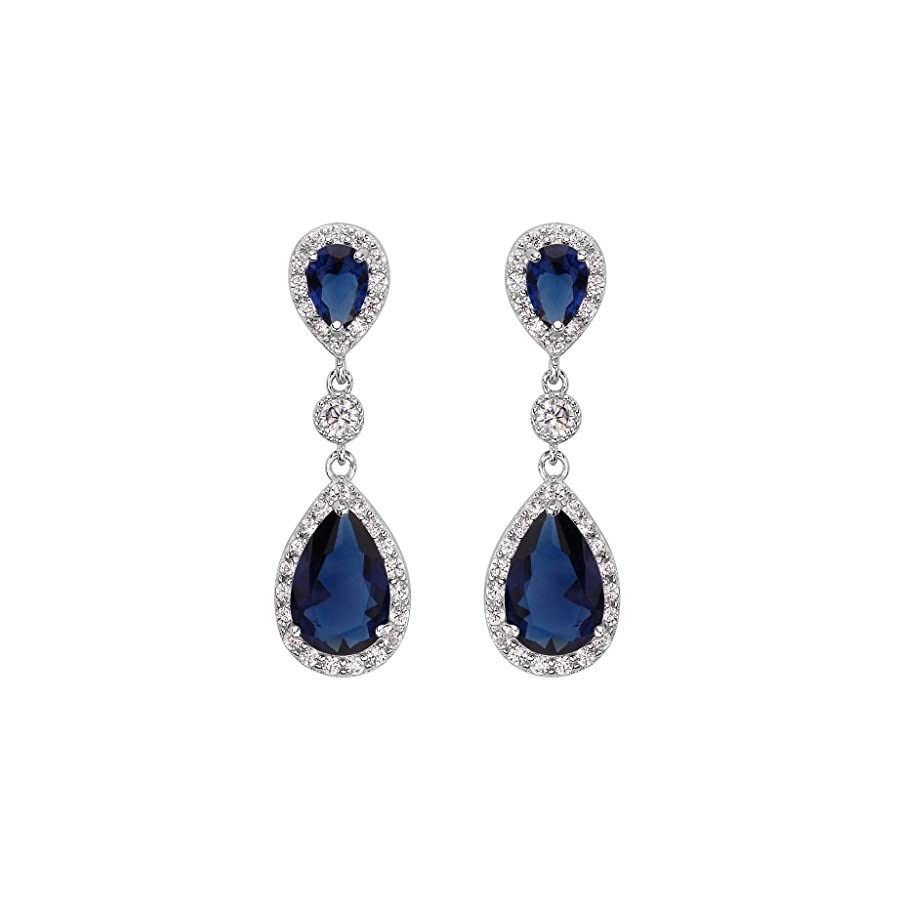 EleQueen 925 Sterling Silver Full Prong Cubic Zirconia Birthstone Teardrop Bridal Dangle Earrings