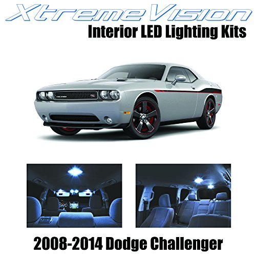 XtremeVision® Dodge Challenger 2008-2014 (10 Pieces) Cool White Premium Interior LED Kit Package + Installation (Reg 14 Piece)