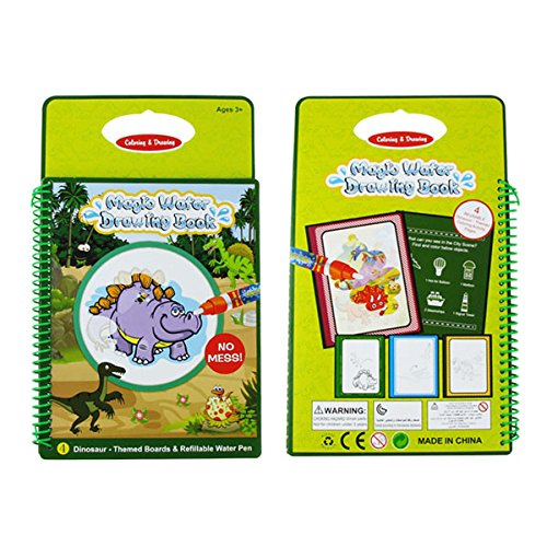 SODIAL Water Drawing Doodle Card Book, Water Paint with Water, Dinosaurs Water Doodle Pad,Educational Toy for Kids, Magic Pen Included, 4 Pages.