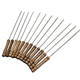 12Pcs Stainless Steel BBQ Skewers Barbeque Kabob Needle Wood Stick (12)