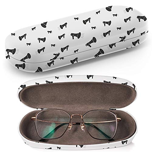 (Hard Shell Glasses Protective Case with Cleaning Cloth for Eyeglasses and Sunglasses - Megaphone Black)