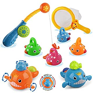 Dwi Dowellin Bath Toys Mold Free Fishing Games Swimming Whales BPA Free Water Table Pool Bath Time Bathtub Tub Toy for Toddlers Baby Kids Infant Girls Boys Age 1 2 3 4 5 6 Years Old Bathroom Fish Set