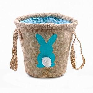 Easter Egg Basket for Kids Bunny Burlap Bag to Carry Eggs...