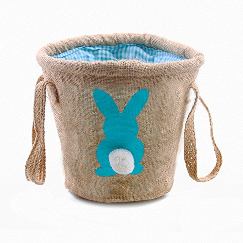 Easter Egg Basket for kids Bunny Burlap Bag to Carry Eggs Candy and Gifts (bunny blue) (Easter Basket Boys)