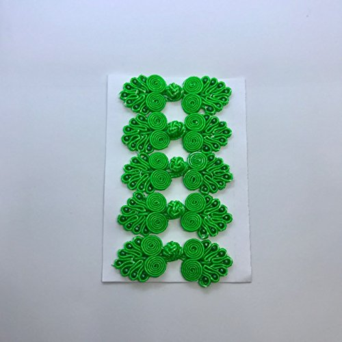 1.75' Button (Five Pairs of Bead Chinese Frogs fasteners closure buttons in Emerald Green, Available in 12 Colors.)