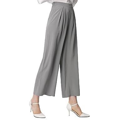 9d0c30f39884 LILYSILK Pantalon Large en Soie Basique Mode Femme 18 Momme XS Gris Perle