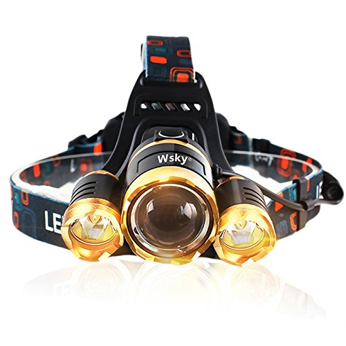 Wsky 5500 LM LED Headlamp Waterproof - Super Bright Headlamp - 3 Light 4 Modes, CREE XM, L 3T6 Lampwick with Rechargeable Batteries, Great for Camping Biking Hunting Fishing Outdoor