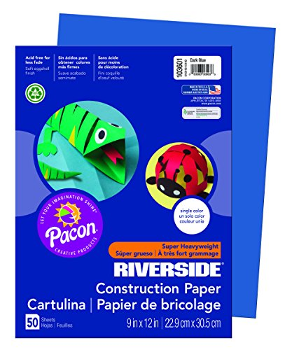 Dark Blue Construction Paper - Riverside 3D  Construction Paper, Dark Blue, 9
