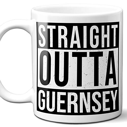 Straight Outta Guernsey Souvenir Gift Mug. I Love City Town USA Lover Coffee Unique Tea Cup Men Women Birthday Mothers Day Fathers Day Christmas. 11 oz.