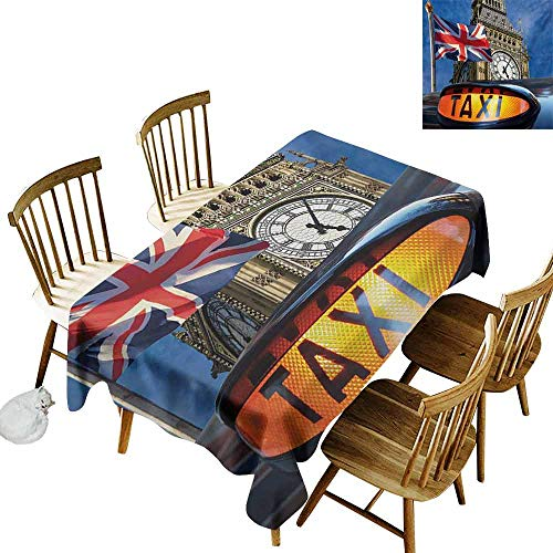 - Mannwarehouse Union Jack Waterproof Tablecloth Union Jack Flagon Pole and Big Ben Taxi Cab Urban Modern Country Symbols Image Table Decoration W70 x L90 Multicolor