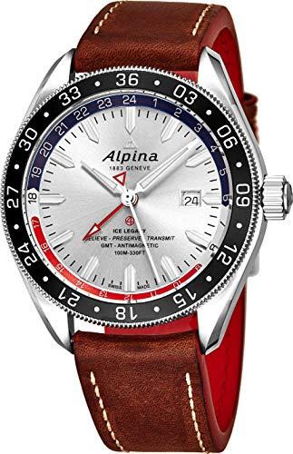 Gmt Automatic Gents Watch - Alpina Alpiner Silver Dial Leather Strap Men's Watch AL-550SRN5AQ6