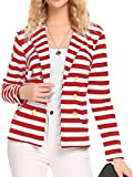 Naggoo Women's Striped Slim Business Work Blazer Suit Jacket Coat Outwear (XXL, Red and White)