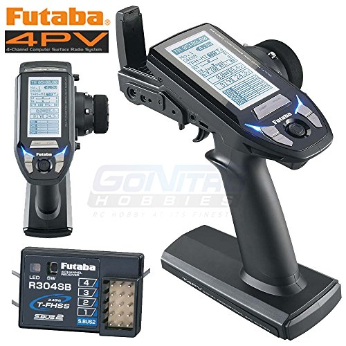 Futaba 4PV T-FHSS SFHSS 4 Channel 2.4GHz Computer Surface Radio Control System with Transmitter and R304SB Receiver