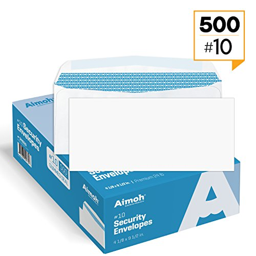 500 #10 Security White Envelopes - GUMMED Seal, Windowless Design, Premium Security Tint Pattern for Secure Mailing - Size 4-1/8 x 9-1/2 Inches - White - 24 LB - 500 Count (34020) (Perfect Tint Protection Moisture)