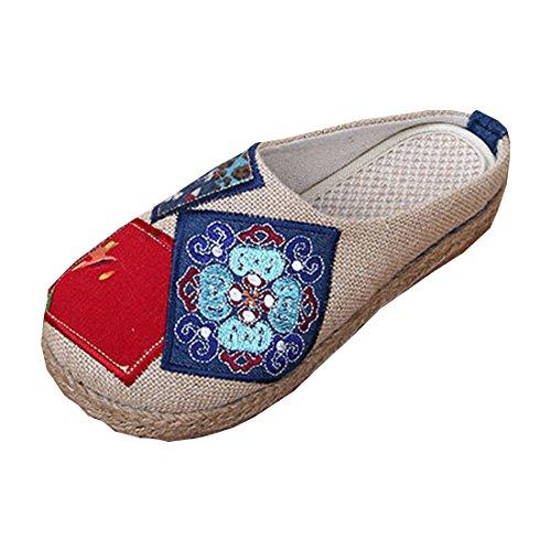 Feest Dames Chinese Blauw En Wit Bedrukte Slip-on Slippers Beijing Schoenen Beige
