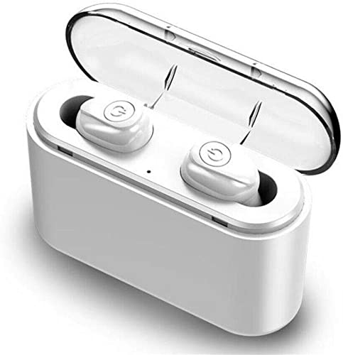 Bluetooth Wireless Earbuds 5.0 X8s Headset Waterproof Mini Sport Headphones 3000mAh 5D Stereo Sound Earpiece with Portable Charging Case White