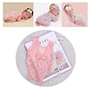 Newborn Infant Baby Photography Props Girls Lace Bow Vest Bodysuits Romper Photo Shoot Princess Clothes (Pink)