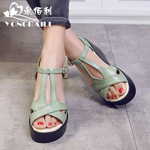 Xing Lin Sandalias De Mujer Verano Nuevo Espesor Pendiente Con Sandalias De Cuero Cómodos De Cabeza Redonda Hembra Casual Transpirable Zapatos De Mujer green