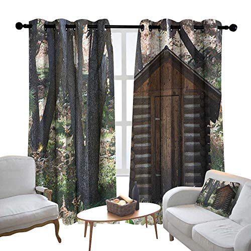 - Blackout Curtains for Bedroom Outhouse,Wooden Primitive Life Barn Shed in Spring Forest Leaves Lumberjack Photo, Dark Brown and Green,Darkening Grommet Window Curtain-Set of 2 54