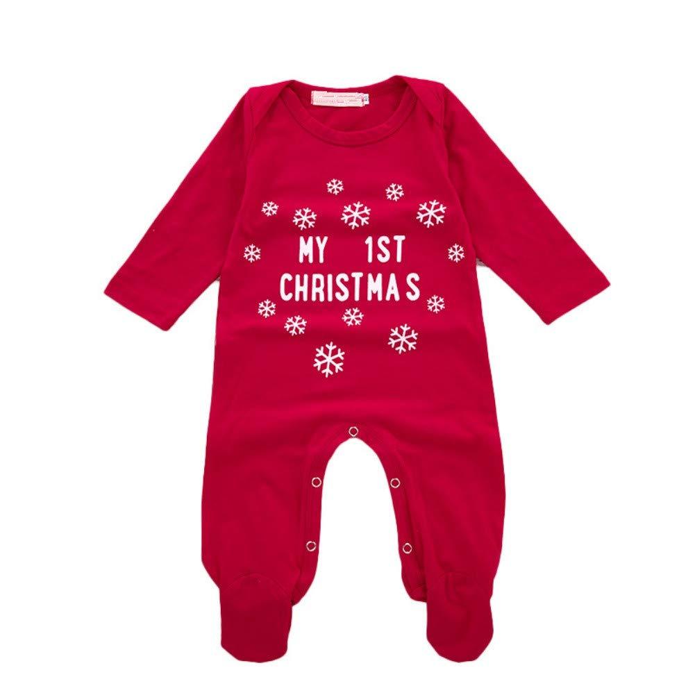 Hongyuangl 'My 1st Christmas Fiocco di Neve Stampa Natale Pagliaccetto Piedi Manica Lunga Tuta Pigiama Vestito