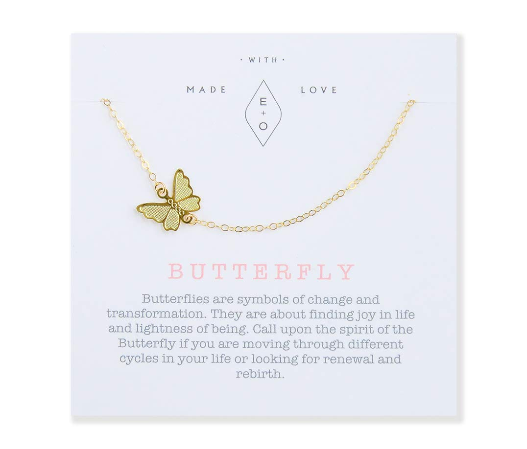 Dainty Butterfly Spirit Animal Charm Necklace Gift for Women - 16'