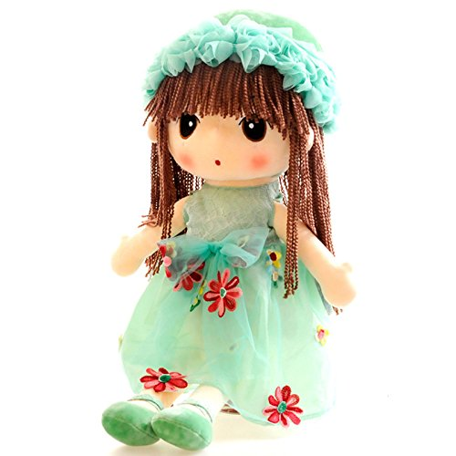 Green Flower Plush Fairy Doll | Stylize Baby Girl Fairy's Hair with your own Idea | Lovely Cute Childhood Friend Gift for Birthday Christmas | Soft Barbie Rag Doll Pretend Play Toy for (Rag Doll Costume Set)
