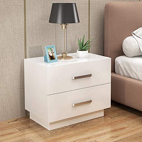KTOL 2-Tier White Nightstand with Metal Handle,2-Drawer Modern Bedside Furniture Open Shelf MDF Easy Assembly Stable Bedside Table Sofa Side End Table Bedroom Accessories 2 Drawers 15.7×16.5in