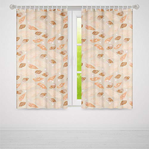 (C COABALLA Window Curtains,Pearls Decoration,Living Room Bedroom Curtain,Pattern with Pearls Seashells an Oysters Natural Marine Life Style Decor Beach Theme2 Panel Set,103W X 83L)