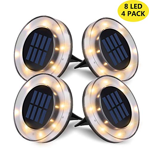 Solar LED Ground Lights Outdoor, 8 LED Garden Lights Waterproof Patio Light with Light Sensor for Lawn,Pathway,Yard,Step and Walkway by WZTO (Warm White, 4 Pack)