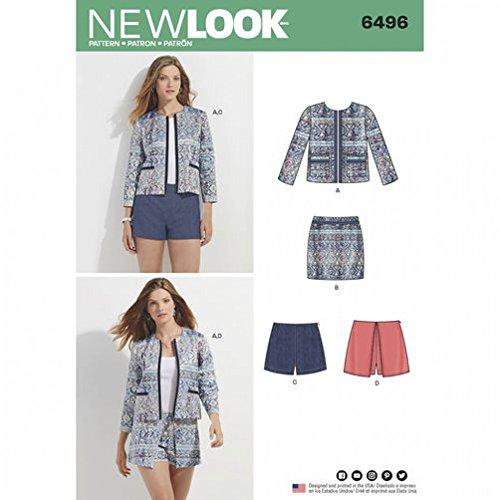 New Look Ladies Sewing Pattern 6496 Jacket, Skort, Shorts & Skirt