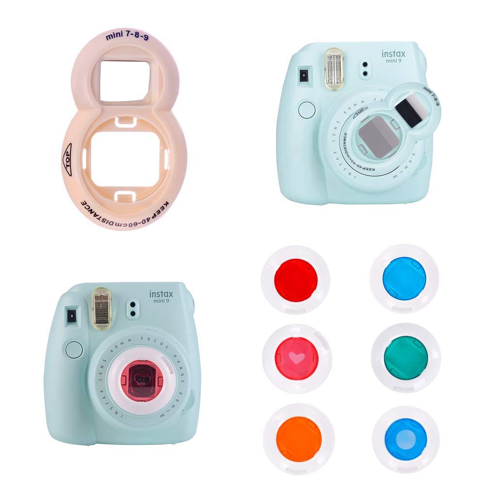 Camera Goocor 15 in 1 Instax Mini 9 Camera Accessories Set for Fujifilm Instax Mini 9// Mini 8// Mini 8 Includes Mini 9 Case,Albums,Six Color Filters,Rainbow Shoulder Strap,Pen ETC Azul Hielo