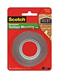 Scotch Outdoor Mounting Tape, 1 x 60'', Gray, 24 per Case